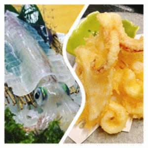 イカ活き造り、天ぷら