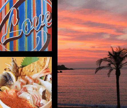 海鮮丼と夕日