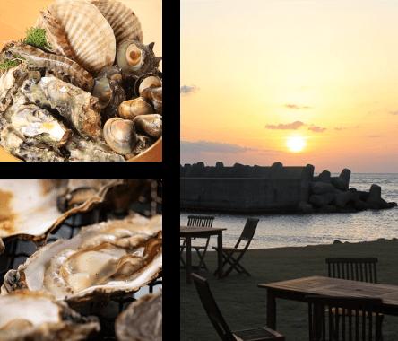 海鮮盛りと夕日